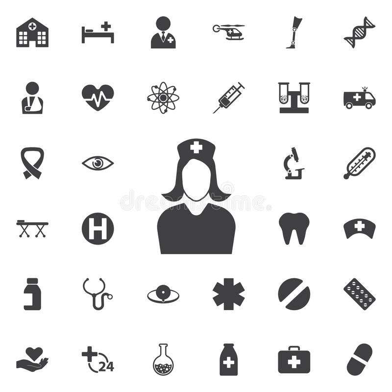 Nurse icon. Medical nurse icon collection related to service, health care, pharmacy business, drugstore, science. Vector style: flat gray symbols, rounded angles stock illustration