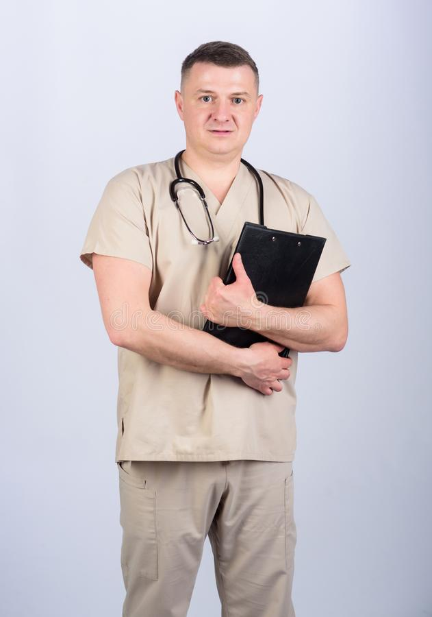 Nurse laboratory assistant. family doctor. confident doctor with stethoscope. medicine and health. man in medical. Uniform. Treatment prescription. pediatrician stock photo