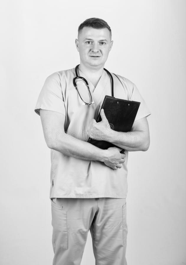 Nurse laboratory assistant. family doctor. confident doctor with stethoscope. medicine and health. man in medical. Uniform. Treatment prescription. pediatrician stock photography