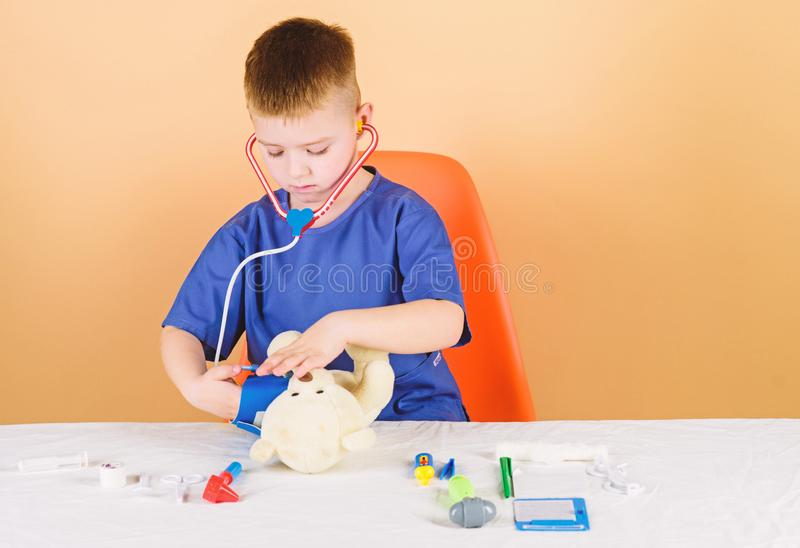 Nurse laboratory assistant. family doctor. Treatment prescription. kid doctor with stethoscope. hospital. medicine and. Health. pediatrician intern. little boy stock images