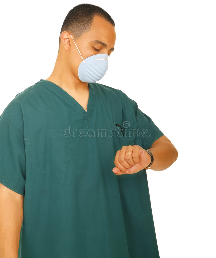 Nurse Looking At Watch royalty free stock photography