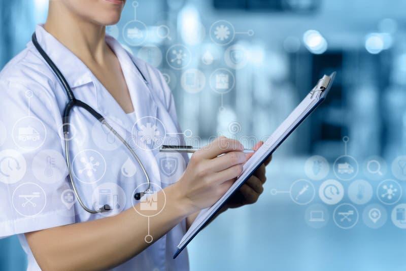 Nurse makes an entry . stock photography