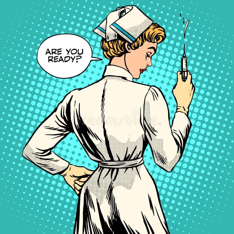 Nurse makes a shot vaccination stock illustration