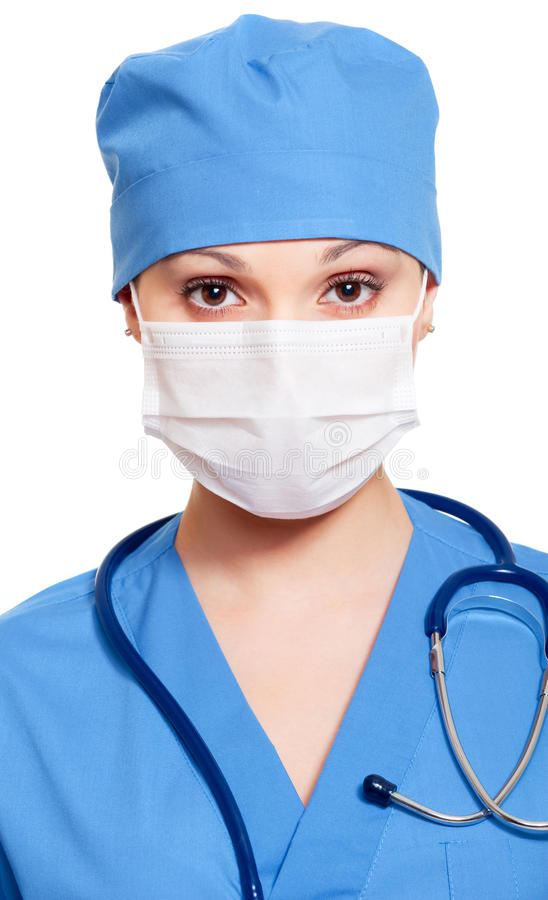 Download Nurse in mask and uniform stock photo. Image of girl - 14021030
