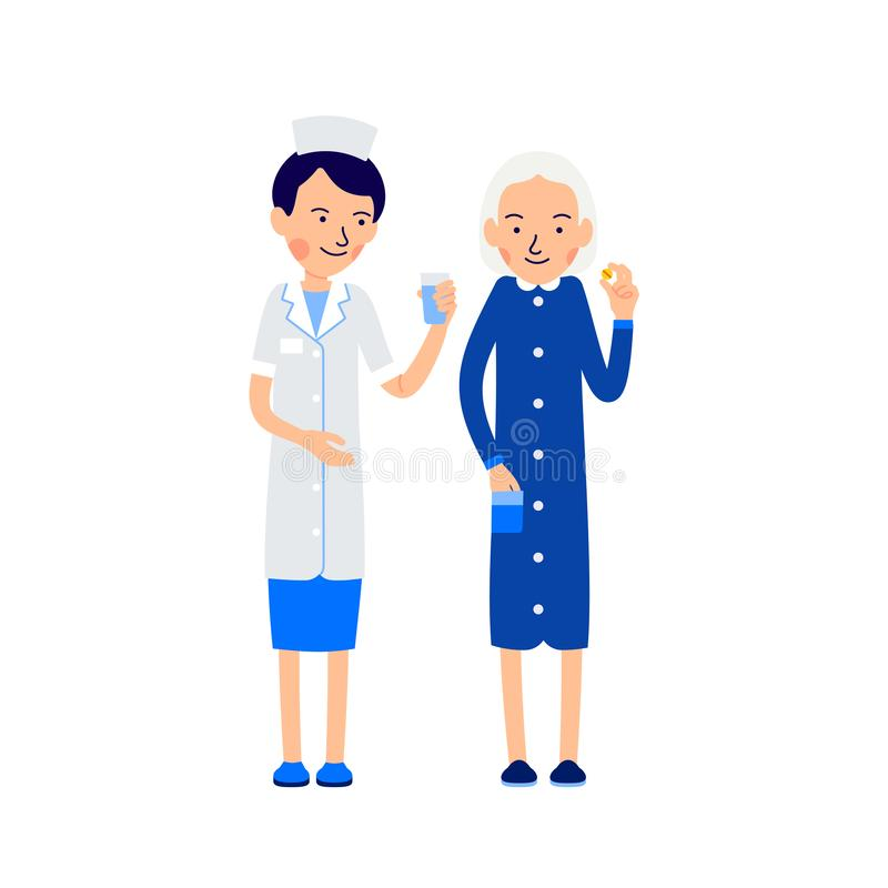 Nurse offers sick water to drink pill. Nurse and sick elderly woman. Taking medications. Illustration of people characters. Isolated on white background in flat stock illustration