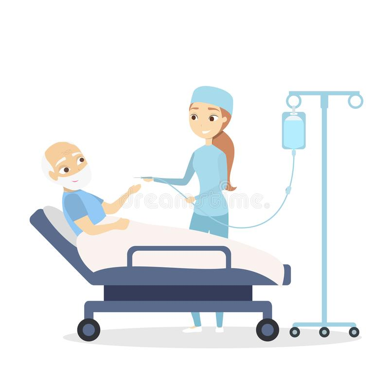 Nurse and old patient. Nurse and old patient in the ward on white royalty free illustration
