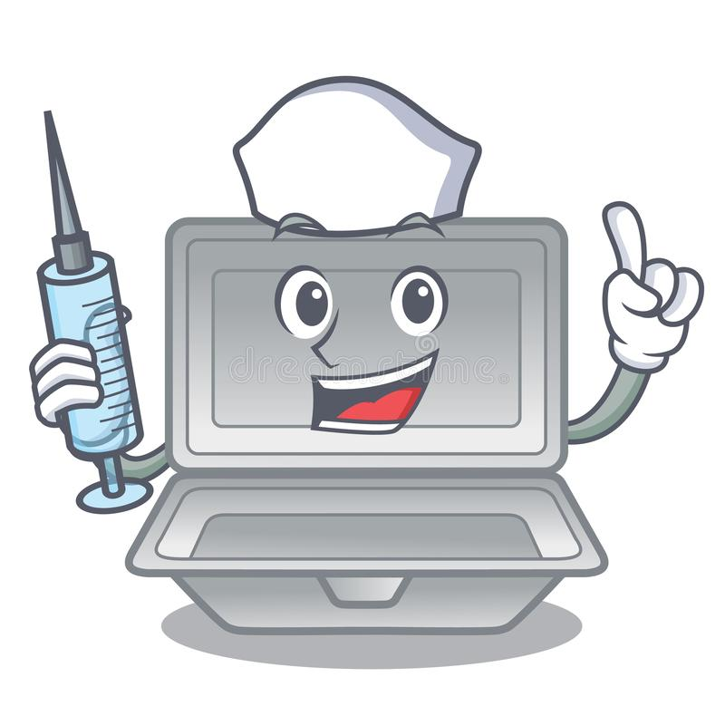 Nurse open styrofoam isolated with the mascot. Vector illustration stock illustration