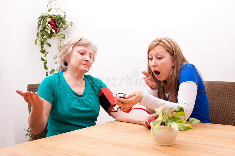 Nurse and patient are surprised by the blood pressure