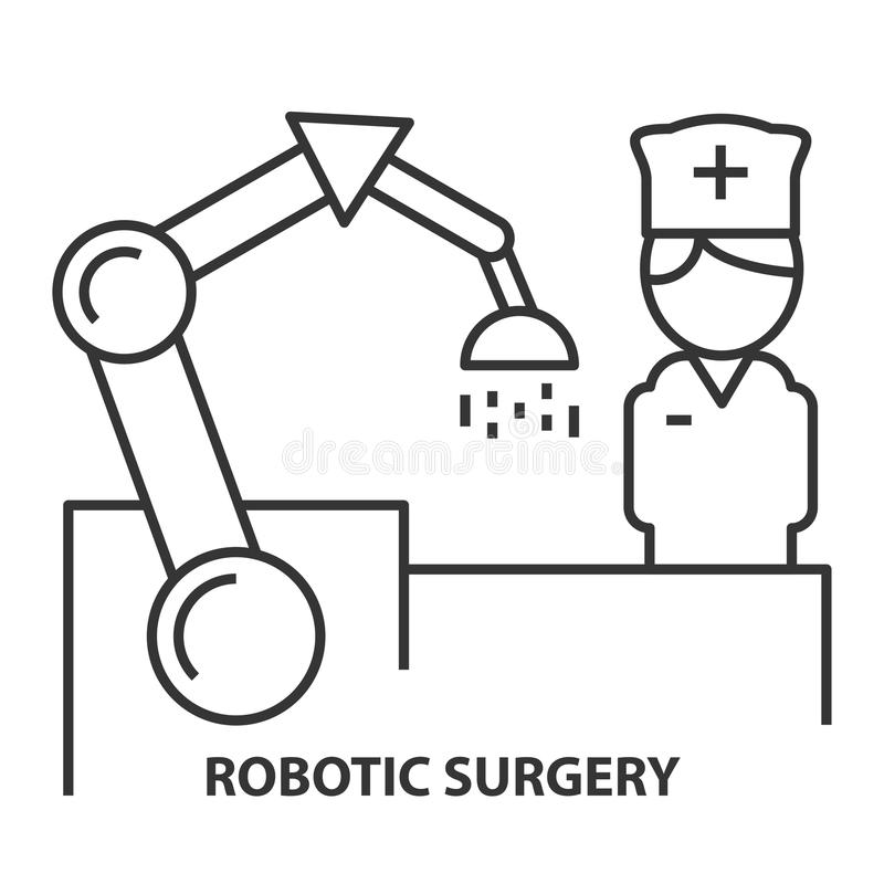 Nurse on Robotic surgery. In linear style. Robotic assisted surgery future linear design element. Vector illustration vector illustration