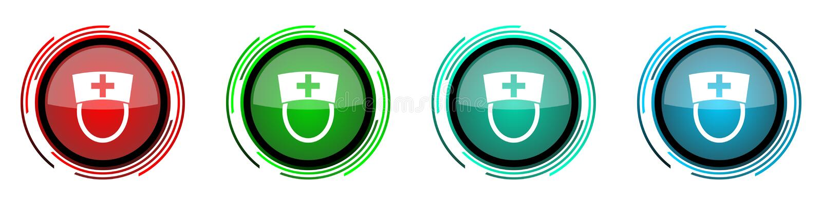 Nurse round glossy vector icons, set of buttons for webdesign, internet and mobile phone applications in four colors options. Isolated on white vector illustration