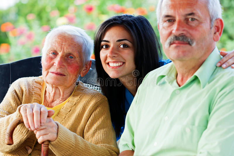 Nurse with Seniors royalty free stock image
