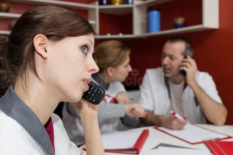 Nurse staff is phoning royalty free stock image