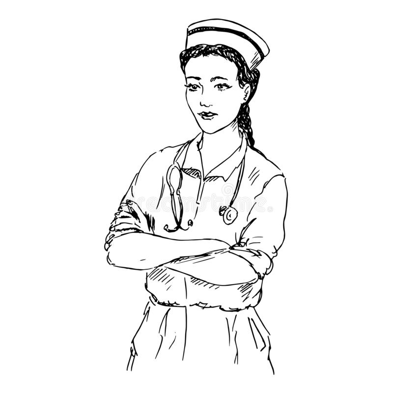 Nurse with stethoscope standing straight and smiling, hand drawn doodle, sketch, black and white vector vector illustration