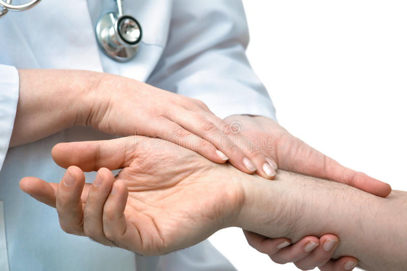Nurse With Patient Measuring Pulse Stock Image - Image of