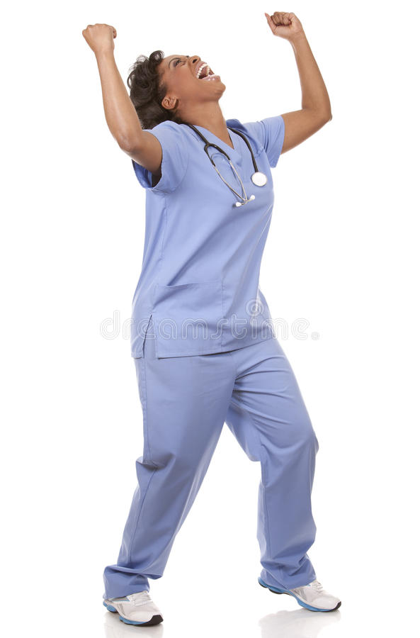 Nurse very excited stock photography