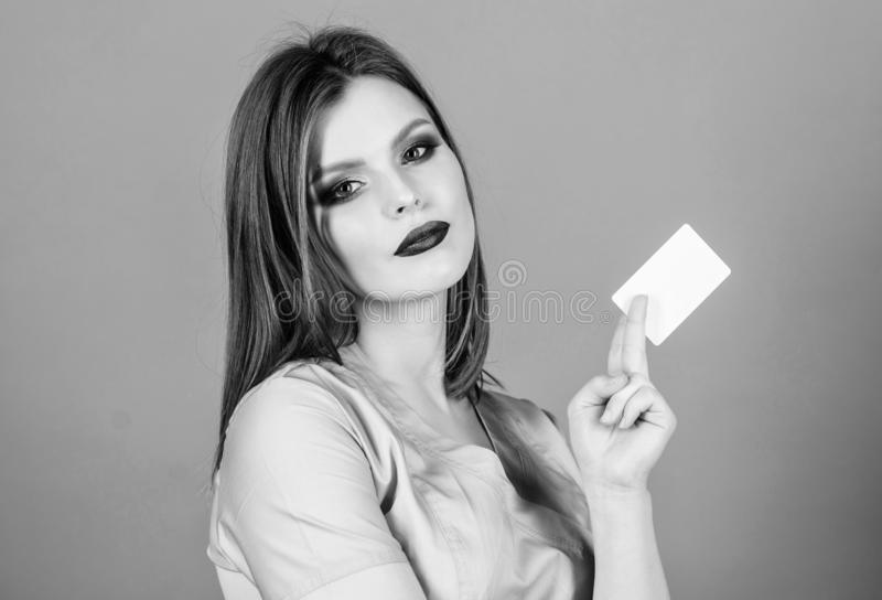 Nurse in white uniform hold business card. sexy woman doctor. health care and medical concept. Doctor and patient. Health care and cure. healthy lifestyle stock images