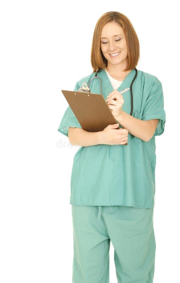 Nurse Write Something On The Clip Board stock image