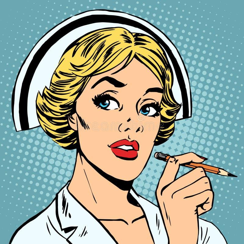 Nurse writes diagnosis royalty free illustration