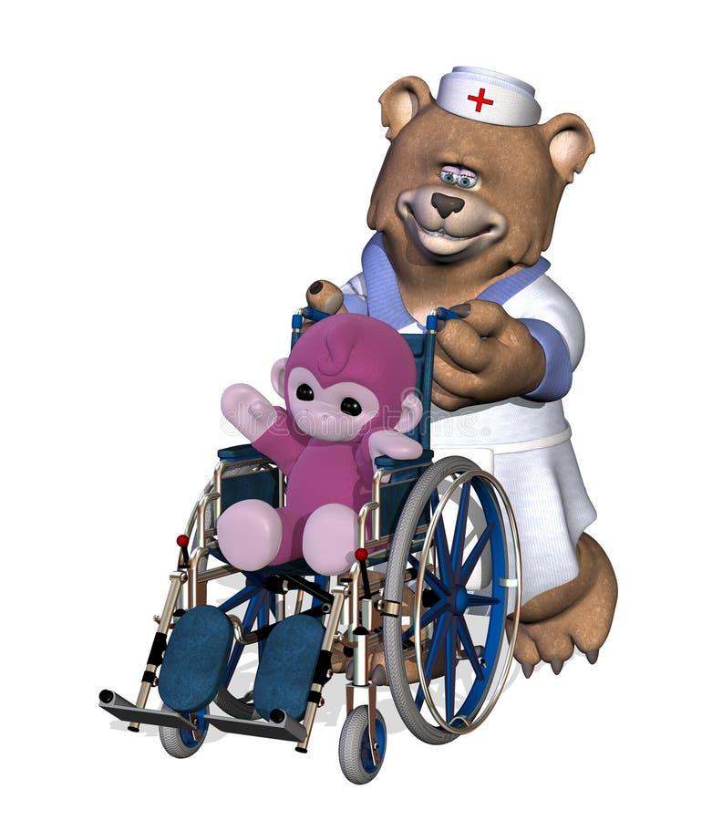 NurseBear met Patiënt in Rolstoel stock illustratie