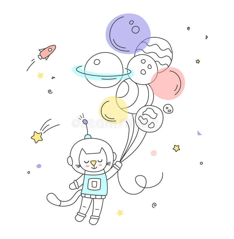 Nursery art: cute hand-drawn cat fly to the space on the air balloons. stock photo