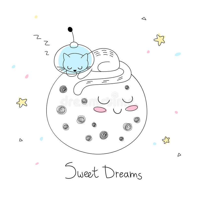 Nursery art: cute hand-drawn cat in a space suite sleep on the surface of the moon. royalty free stock photos