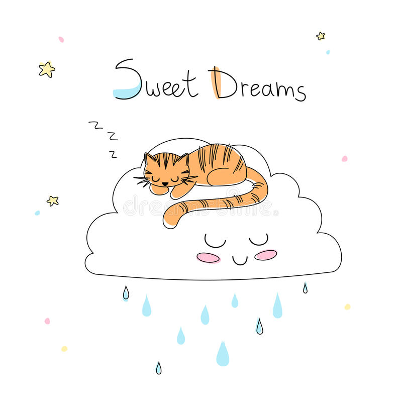 Nursery art: cute hand-drawn tiger sleep on the funny soft cloud. royalty free stock image