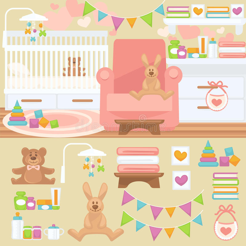 Nursery and baby room interior. Nursery and childhood bedroom interior. Baby room with furniture bed and toy, teddy bear and rabbit. Flat style vector royalty free illustration
