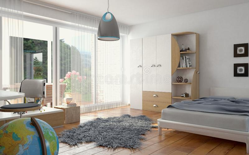 Nursery in blue with fluffy carpet stock illustration