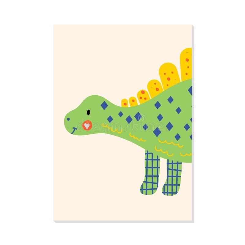 Nursery card with cute dinosaur stegosaurus. For kids prints, postcards, wall art. Vector illustration. nursery card with cute dinosaur stegosaurus. For kids royalty free illustration