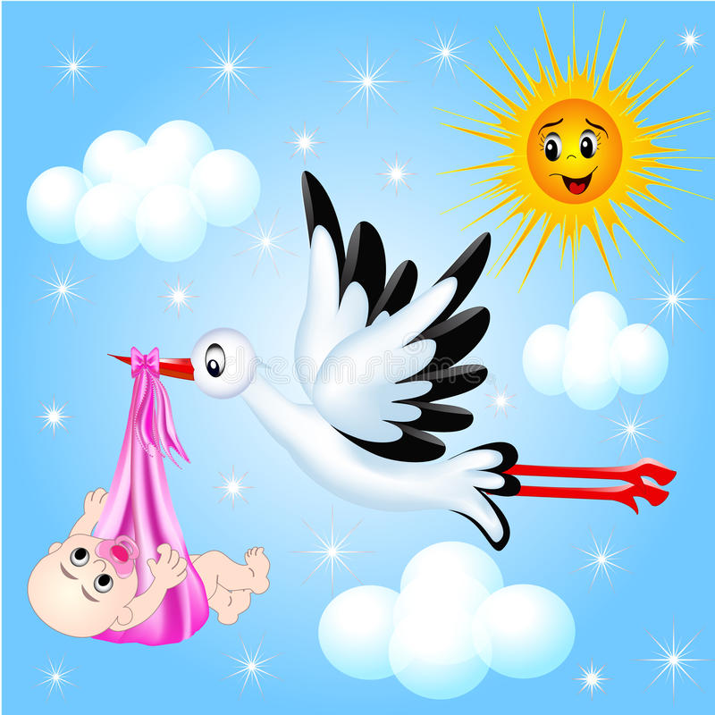 Download Nursery Frame For Photo Stork And Cloud Royalty Free Stock Photos - Image: 26858628
