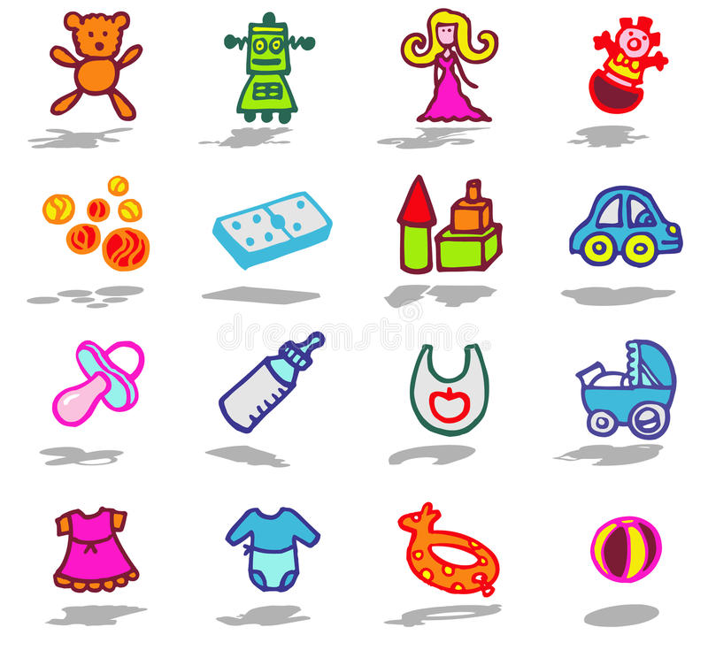 Download Nursery Icons Set Stock Photo - Image: 10202640