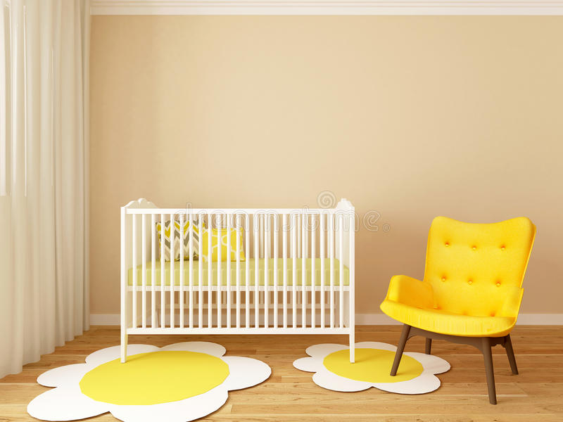Nursery interior. A 3d image of a nursery interior, children room interior
