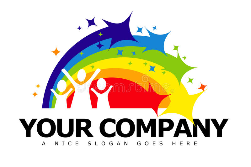 Nursery Logo. An illustration of a business company logo representing a nursery and kids on a sparkling rainbow