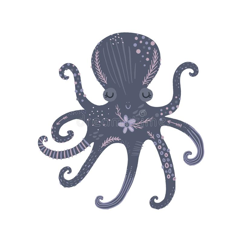 Nursery poster with cute animal, kids wall art with octopus and flower. Sea inhabitants. Children print. Pastel colors. solated on white background vector illustration