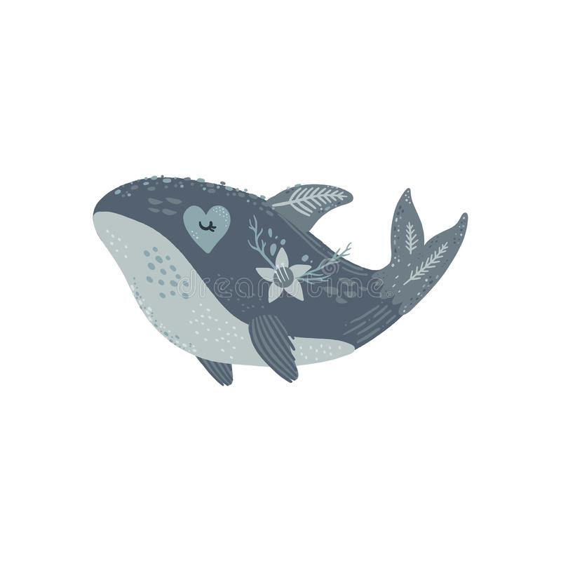 Nursery poster with cute animal, kids wall art with whale and flower. Sea inhabitants. Children print. Pastel colors. Isolated on white background vector illustration