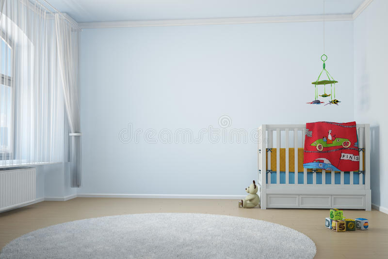 Nursery room with crip. Toys and window with curtain