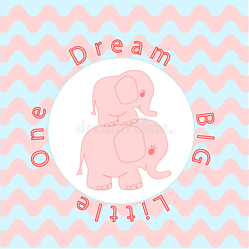 Nursery room wall decoration Baby poster Mother and baby animals, Cartoon baby elephant stock illustration