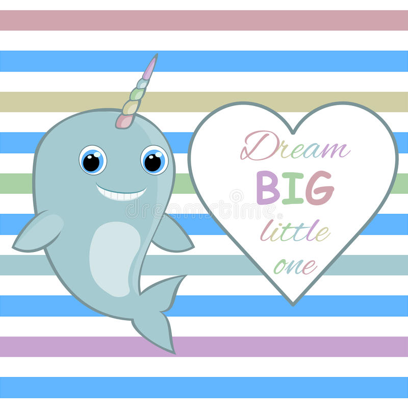Nursery wall art Nursery room wall decor Baby narwhal Dream big little one quote vector illustration