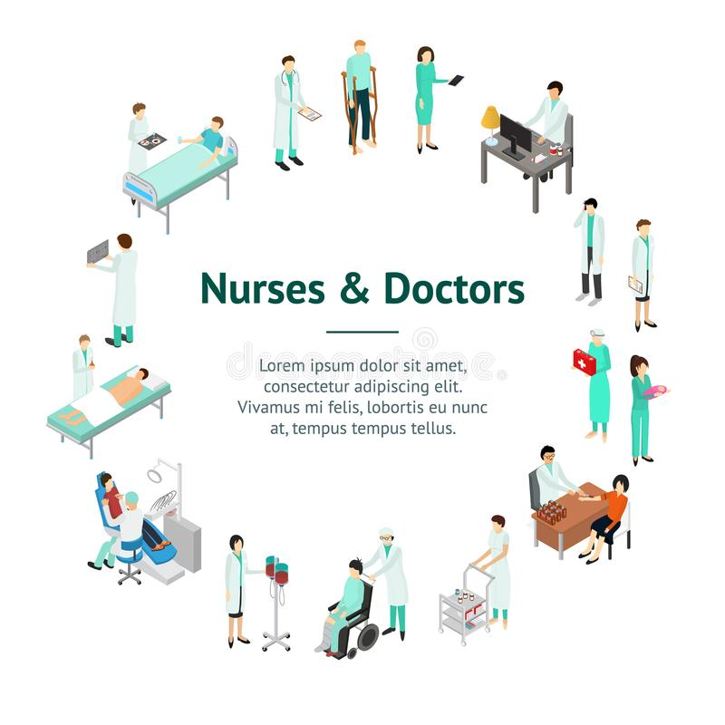 Nurses Attending Patients Banner Card Circle Isometric View. Vector. Nurses Attending Patients Banner Card Circle Isometric View Treatment Clinic Staff and Sick vector illustration