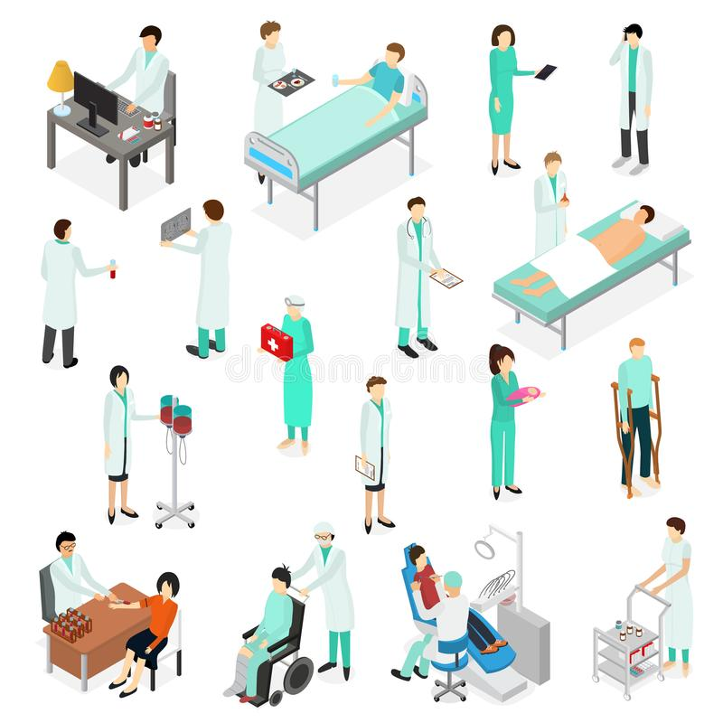 Nurses Attending Patients Icons Set Isometric View. Vector. Nurses Attending Patients Icons Set Isometric View Treatment Clinic Staff and Sick Healthcare Concept royalty free illustration