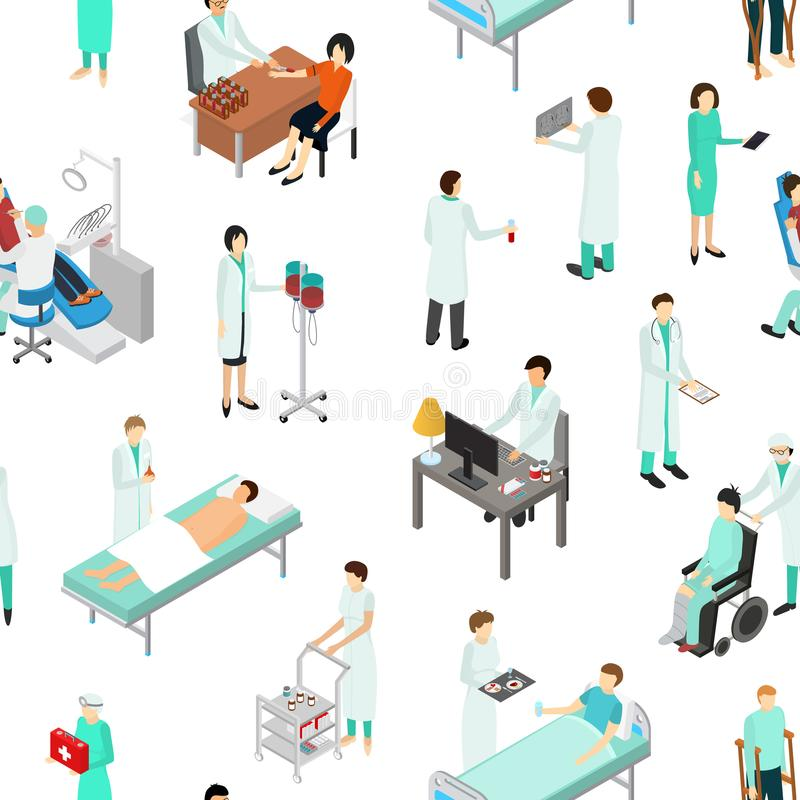 Nurses Attending Patients Seamless Pattern Background Isometric View. Vector. Nurses Attending Patients Seamless Pattern Background on a White Isometric View vector illustration