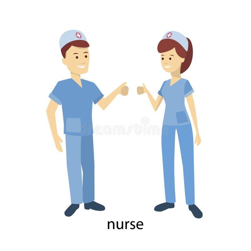 Nurses couple. Man and woman in uniform vector illustration