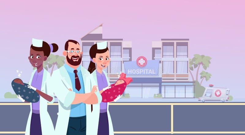 Nurses And Doctor Holding Newborn Children Over Modern Maternity Clinic Background Hospital Building Exterior stock illustration