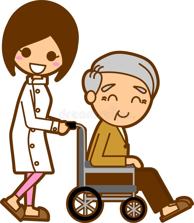 Download Nurses and elderly men stock illustration. Illustration of grandfather - 21696439