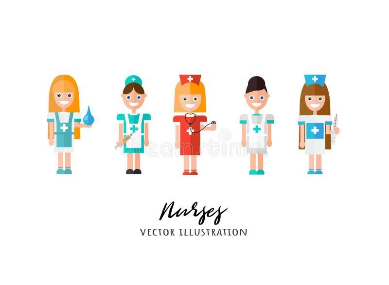Nurses. Female Medical Staff Vector Illustration. Flat Vector stock illustration