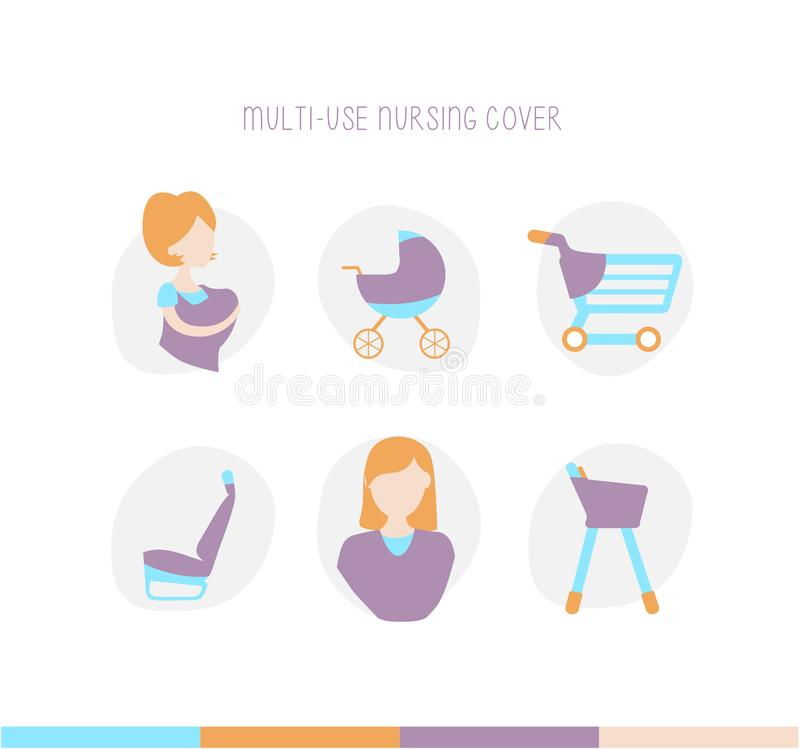 Nursing Breastfeeding Cover Scarf. Baby Car Seat Canopy - Nursing Pads, Pouch & Gift Pack Set - Shopping Cart, Stroller, Carseat Covers for Girls and Boys royalty free illustration