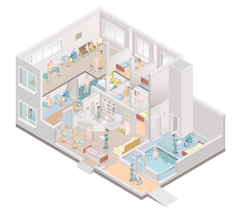 Nursing home. Assisted-living facility. Vector. Illustration stock illustration