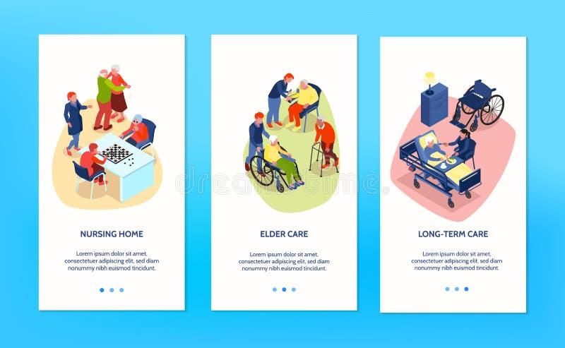 Nursing Home Banners Set stock illustration