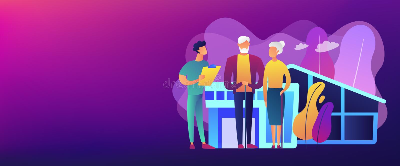 Nursing home concept banner header. Skilled nurse and elderly people getting around-the-clock nursing care. Nursing home, nursing residential care, physical stock illustration
