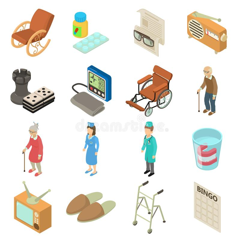 Nursing home icons set, isometric style stock illustration